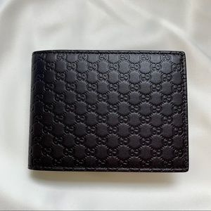 Gucci Brown Leather Microguccissima Bifold Wallet